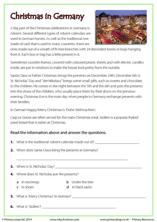 Reading comprehension - Christmas in Germany