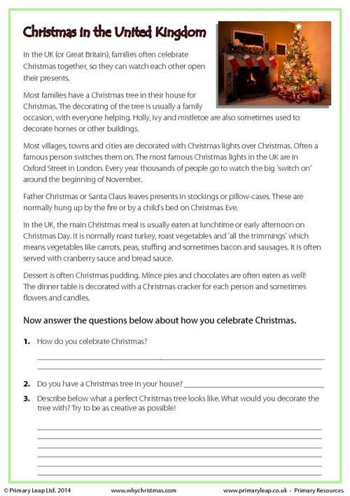 Reading comprehension - Christmas in the UK