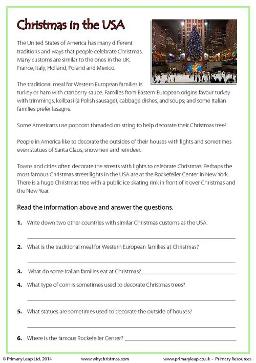 Reading comprehension - Christmas in the USA