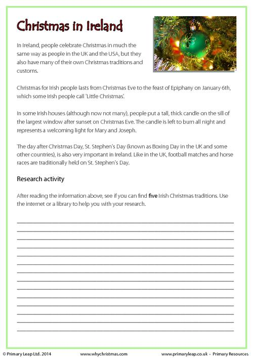 Research Activity - Christmas in Ireland