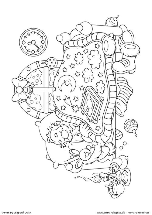 Colouring Picture - Santa Claus Sleeping