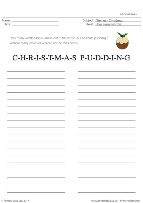 Christmas Pudding- How Many Words?