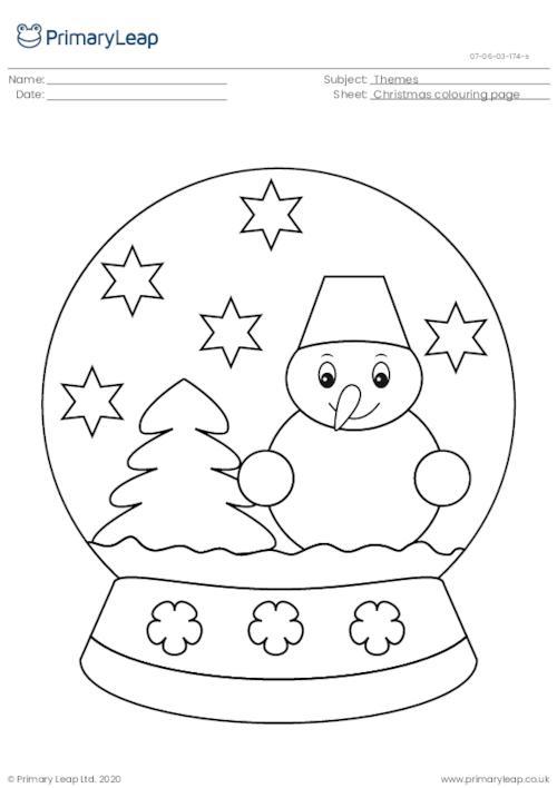 Christmas colouring page - Snow globe