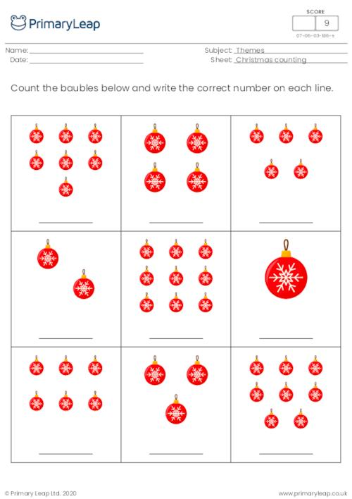 Christmas count and write - How many baubles?