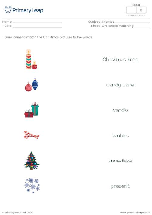 Christmas word and picture matching