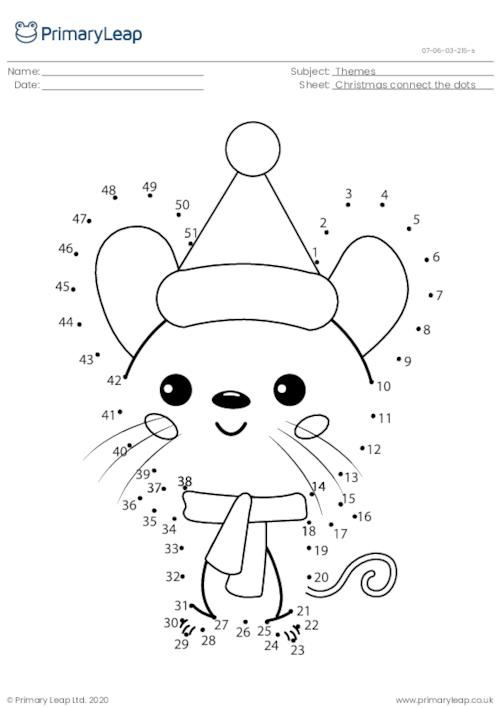 Connect the dots (1-51) - Christmas mouse