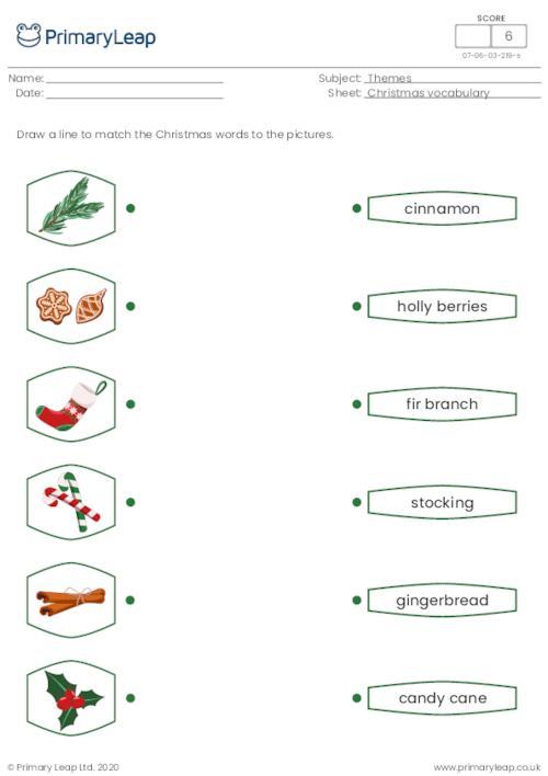 Christmas vocabulary matching 2