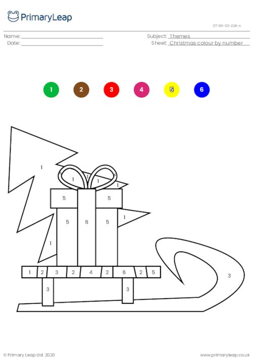 Colour by number - Christmas sleigh
