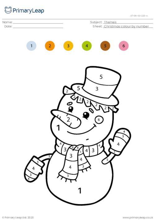 Colour by number - Snowman