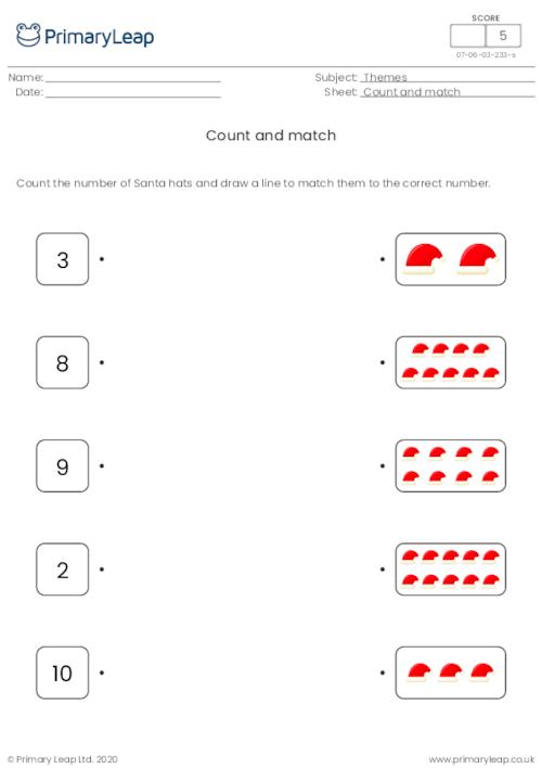 Count and match - Santa hats