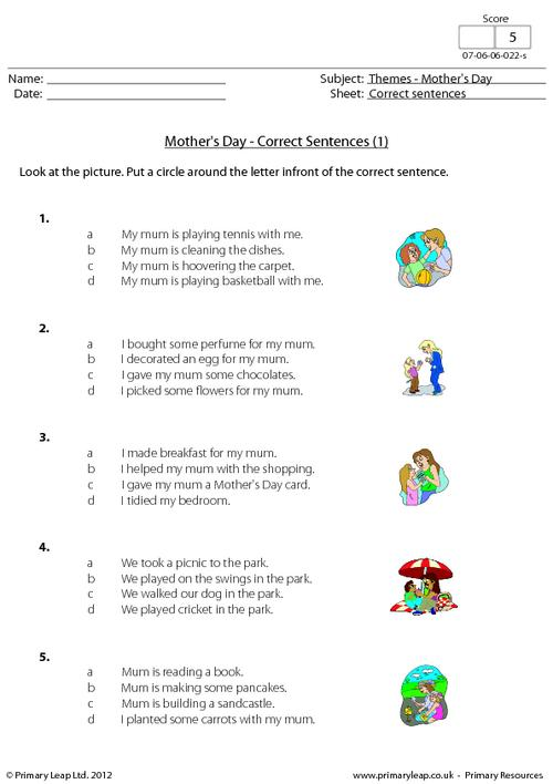 Mother's Day - Correct sentences