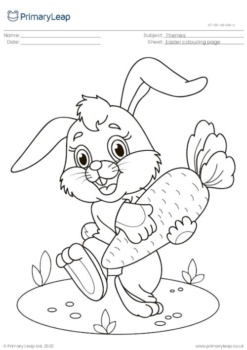 Colouring Page - Easter Bunny with Carrot