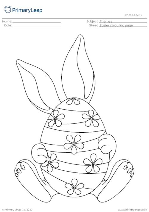 Colouring Page - Easter Bunny with Egg