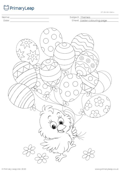 Colouring Page - Easter Chick with Balloons