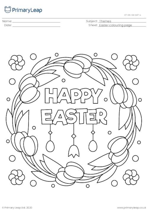 Colouring Page - Easter Wreath