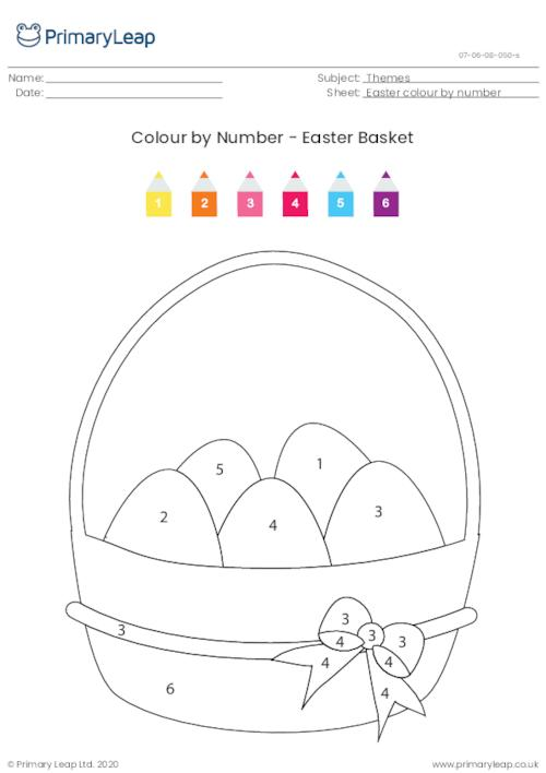 Colour By Number - Easter Basket (easy)