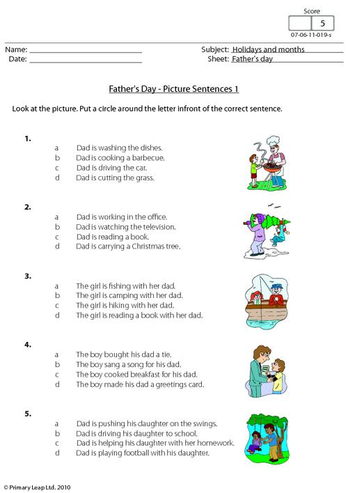 Father's day - Picture sentences 1