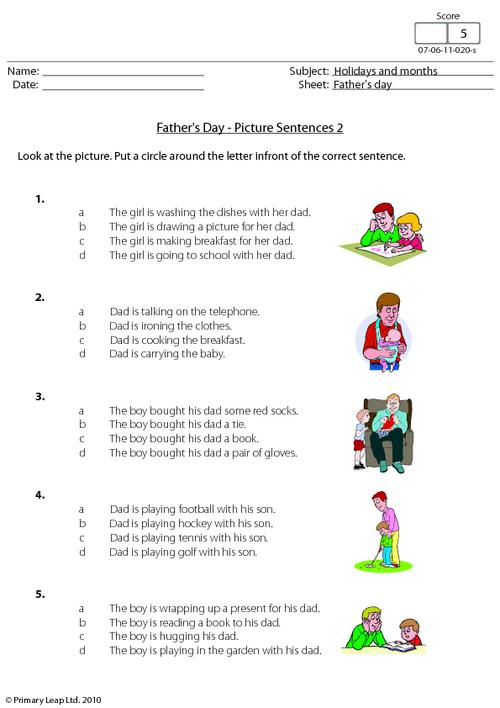 Father's day - Picture sentences 2