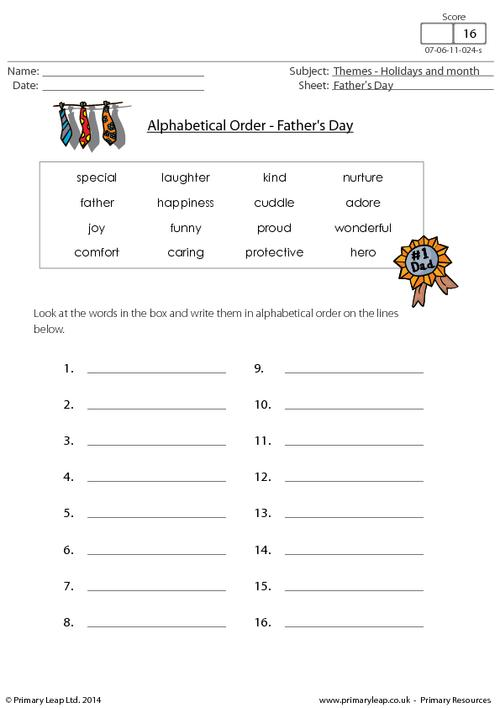 Father's Day - Alphabetical Order