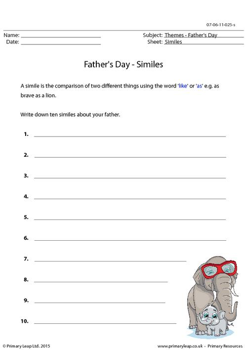Writing Similes - Father's Day
