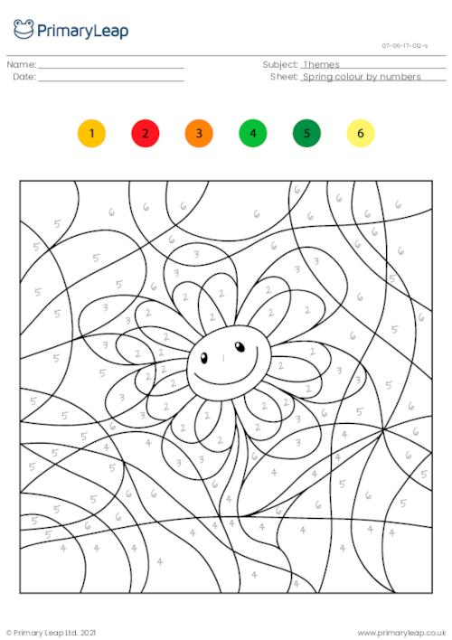 Colour by numbers - Smiling flower