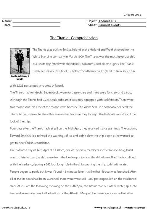 The Titanic - Comprehension