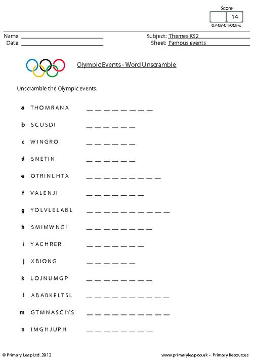 Olympic Events - Word unscramble