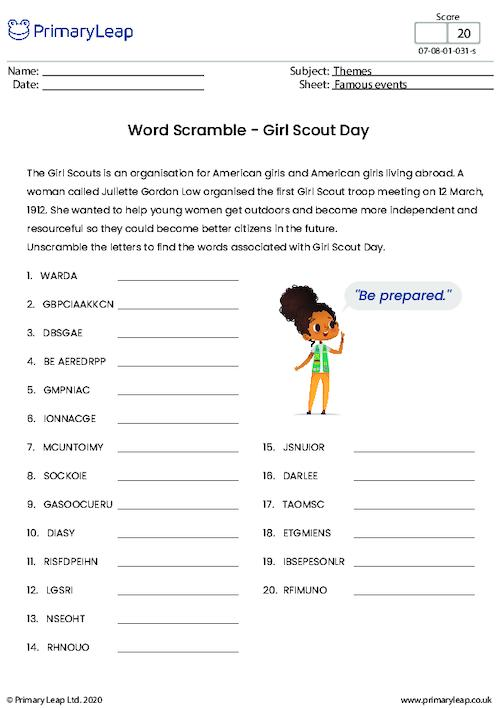 Word Scramble - Girl Scout Day