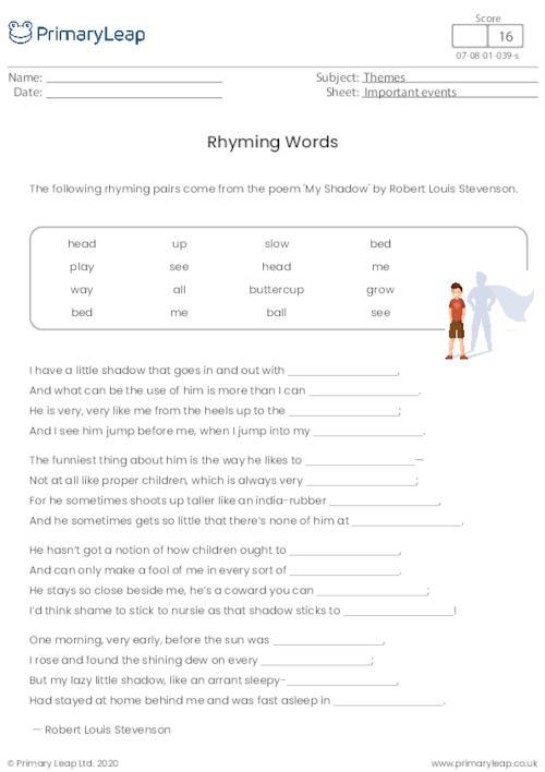 Rhyming Words - My Shadow