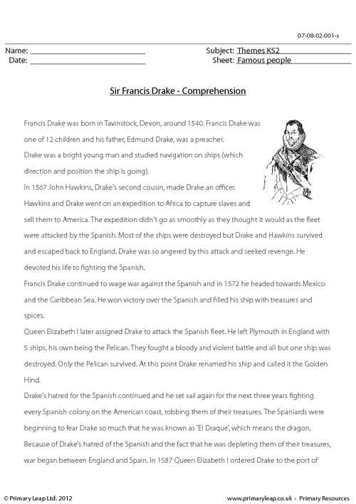 Sir Francis Drake - Comprehension