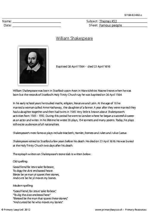 William Shakespeare - Comprehension