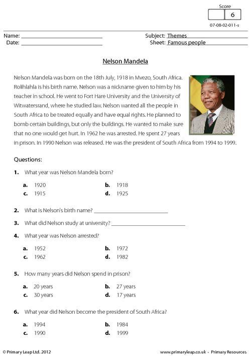 Reading Comprehension - Nelson Mandela