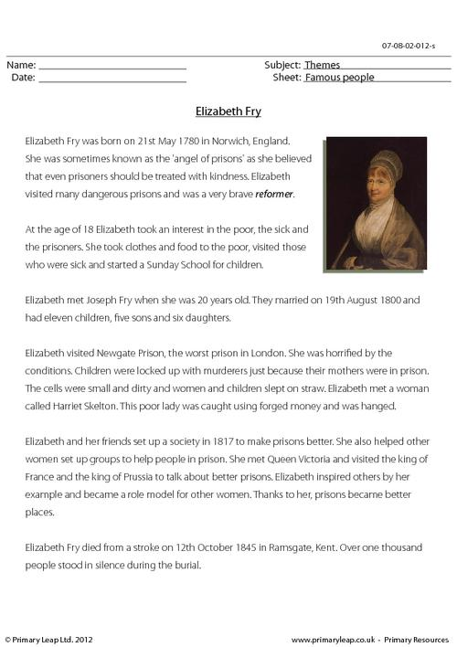 Reading comprehension - Elizabeth Fry