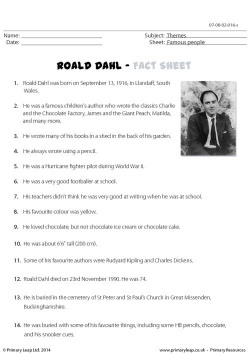 Roald Dahl - Fact Sheet