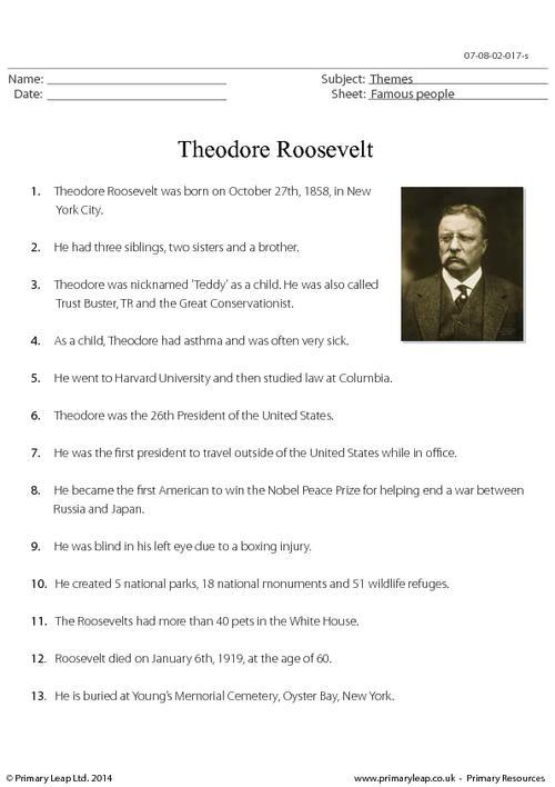 Theodore Roosevelt - Fact Sheet