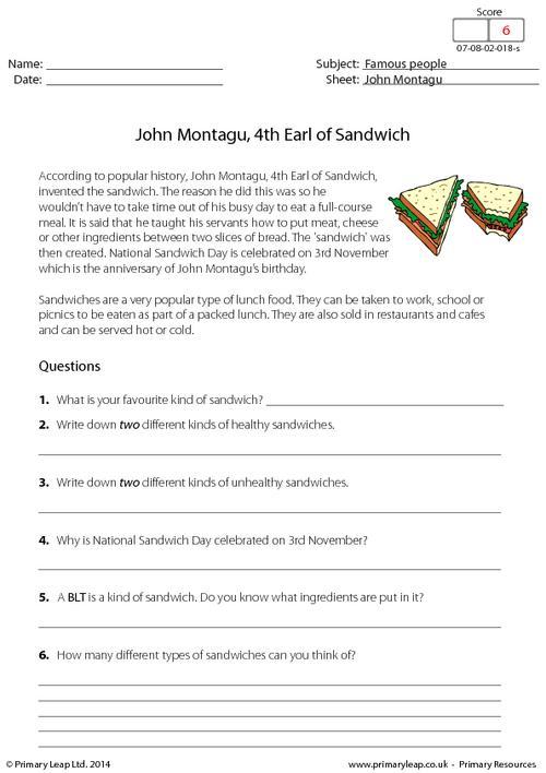John Montagu, 4th Earl of Sandwich - Reading comprehension