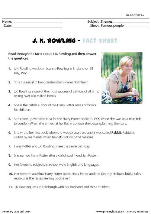 Fact Sheet - J. K. Rowling