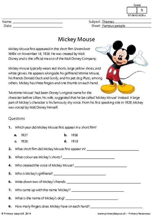 Reading comprehension - Mickey Mouse