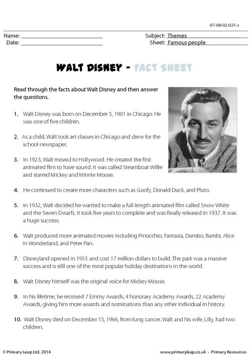 Reading comprehension - Walt Disney