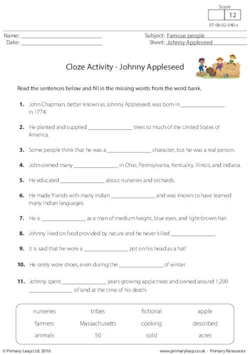Cloze Activity - Johnny Appleseed