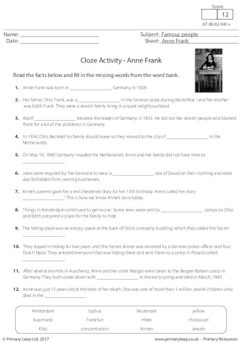 Cloze Activity - Anne Frank