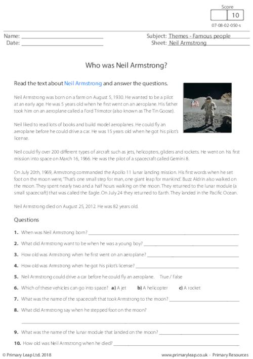 Reading Comprehension - Neil Armstrong