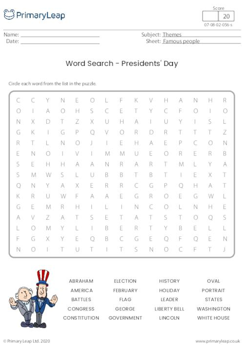 Word Search - Presidents' Day