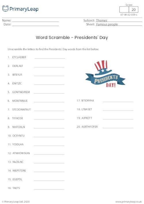 Word Scramble - Presidents' Day