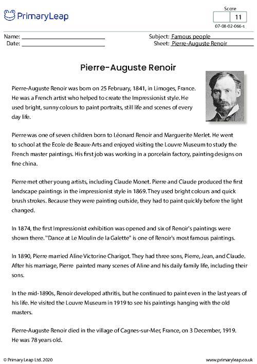 Reading Comprehension - Pierre-Auguste Renoir