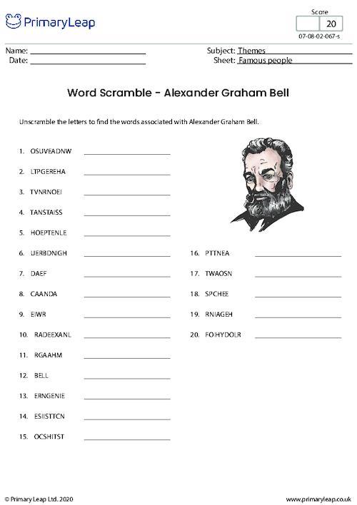 Word Scramble - Alexander Graham Bell