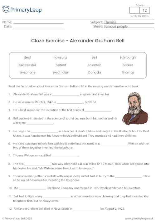 Cloze Activity - Alexander Graham Bell