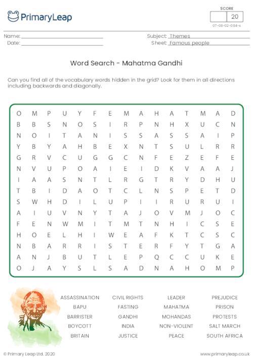 Mahatma Gandhi Word Search