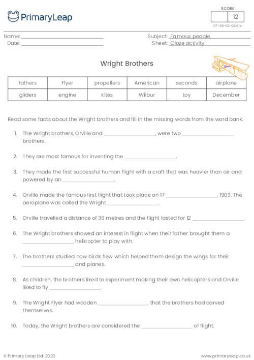 Wright brothers cloze activity