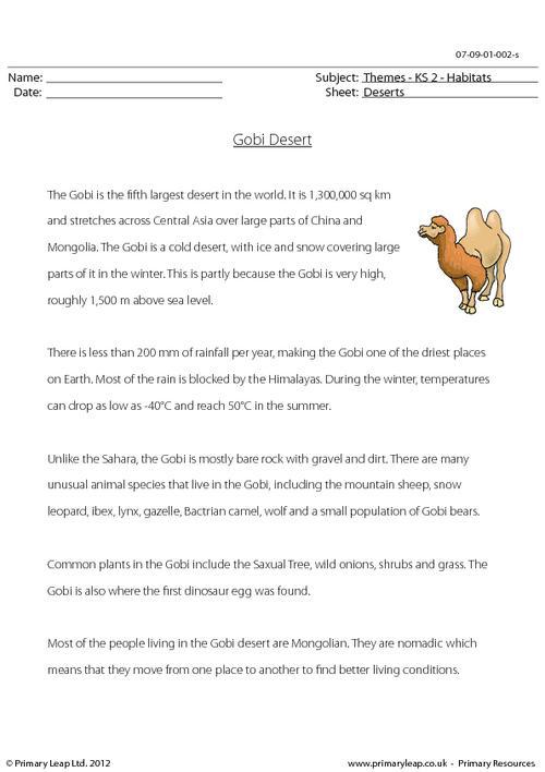 Reading comprehension - The Gobi Desert